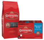 Save $3.00 off any TWO (2) BAGS or K-CUP® BOXES of Community® Coffee